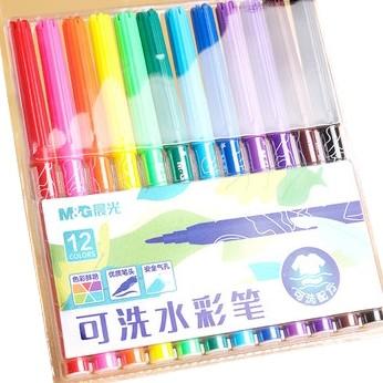 M&G 晨光 12色可洗水彩笔 送图画本+勾线笔