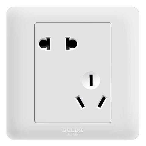 德力西(DELIXI)开关插座面板 CD812系列 10A斜五孔插座 优雅白 *3件