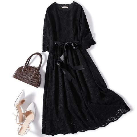 了不起的女孩秋装长袖女装新款时尚纯色蕾丝气质修身显瘦连衣裙