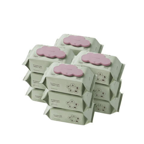 【直营】babycare婴儿湿巾手口专用宝宝加厚湿纸巾80抽带盖*12包