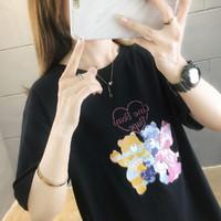 2021夏新款韩版宽松显瘦时尚印花短袖t恤女纯棉休闲女式t恤