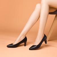 女鞋优雅纯色小皮鞋小尖头猫跟女鞋浅口单鞋职业鞋