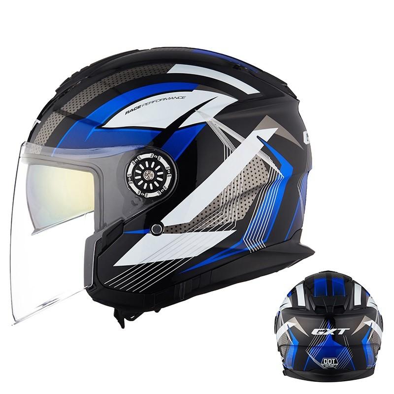 GXT 摩托车双镜片半覆式头盔 送Q2蓝牙