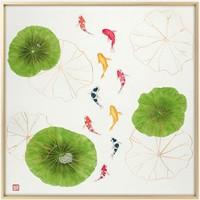 新中式手绘国画 鲤鱼挂画 现代 轻奢 斗方九鱼图餐厅装饰画