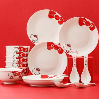 Hellokitty 红色蝴蝶结系列 陶瓷碗碟套装 10件套