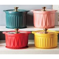 EWIWE  耐高温煲汤陶瓷锅  红色 2.5L 多款可选