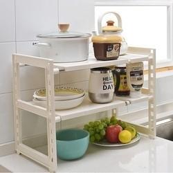厨房置物架可伸缩不锈钢水槽下架子多层收纳架下水道储物架 象牙白