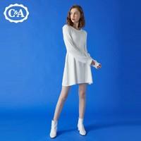 C&A复古绞花收腰显瘦针织圆领长袖连衣裙女2020冬CA200231295