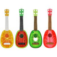 儿童益智乐器玩具水果吉他迷你可弹奏男孩女孩尤克里里吉他玩具 一个装(颜色随机)
