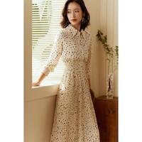 春秋新品雪纺波点套装裙长袖衬衫搭百褶裙知性通勤套装