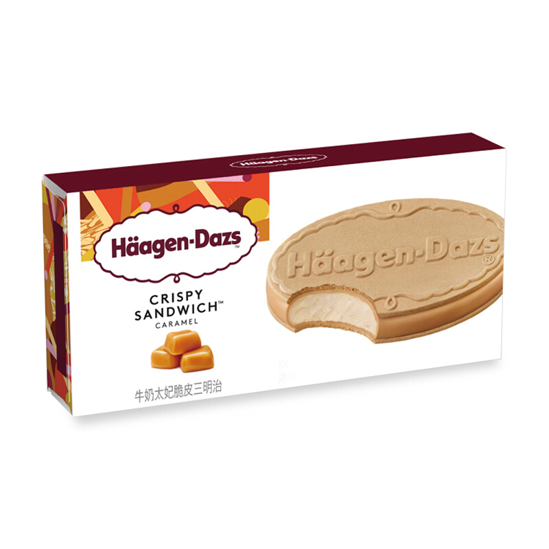 Häagen·Dazs 哈根达斯 牛奶太妃口味  脆皮三明治冰淇淋 67g *5件