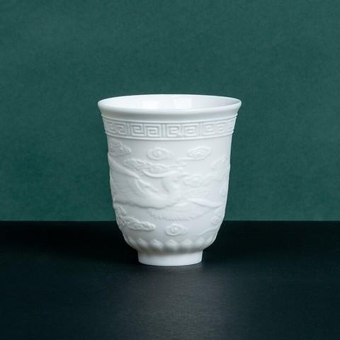熹谷 白瓷 羊脂玉陶瓷茶杯 凤凰杯