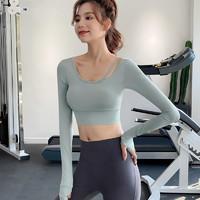 运动上衣女秋季紧身显瘦性感露脐长袖T恤网红跑步训练瑜伽健身服