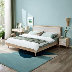 全友家居 床现代北欧简约水曲柳实木框架双人床125701 床 床头柜*1 105001床垫 1800*2000