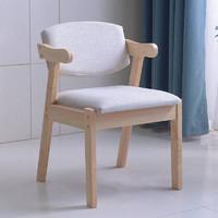 冬巢 实木软包Z字椅子 原木色标准款