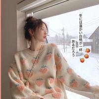 Bejirog 北極絨 KI57I2N1JKU13 女士草莓圓領慵懶毛衣