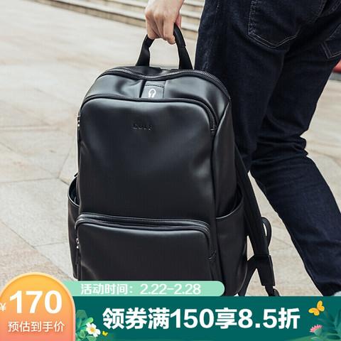 高尔夫GOLF双肩包男士软皮商务休闲背包大容量学生书包电脑旅行包5I388497J黑色