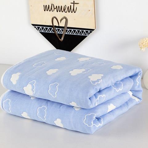 辰枫家纺 全棉毛巾被单人双人纯棉毛巾毯儿童午睡夏季空调毛毯子 云间 120*150cm *6件