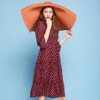 智熏裙法式桔梗裙春秋款流行波点连衣裙子