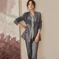 罗衣职业OL格子套装女西装外套裤子时尚两件套