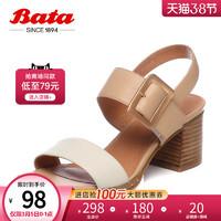 Bata夏季商场新款一字带真牛皮高粗跟女凉鞋40-20BL8