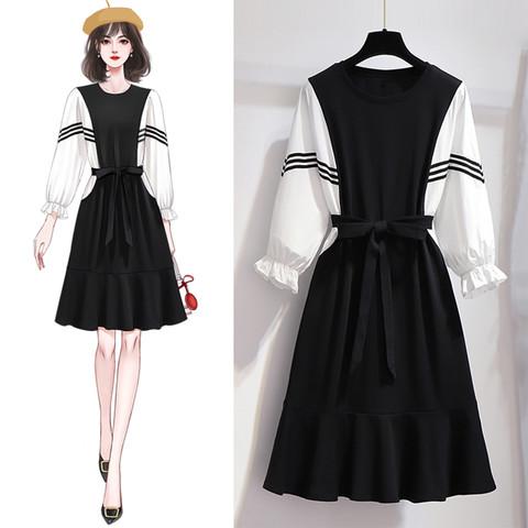 春季时尚优雅气质简约小香风泡泡袖长袖连衣裙女中长款裙子