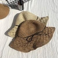 夏季海边防紫外线大檐太阳帽子女遮阳防晒帽韩版渔夫帽遮脸草帽