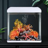 意牌(YEE)免换水生态鱼缸 白色+仿生造景套餐 高清热弯玻璃230*160*285mm