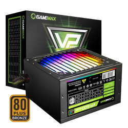 游戏帝国(GAMEMAX)VP600 RGB 额定500W 电脑电源(铜牌认证/风扇启停/RGB光效/3年质保)