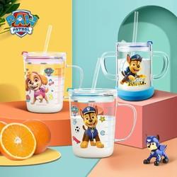 汪汪队立大功 玻璃杯 家用儿童牛奶杯子带刻度耐热吸管水杯 可微波炉加热 450ML蓝色阿奇 *2件