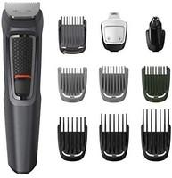 Philips 飞利浦 10 合 1 多功能修剪器,3000 系列胡须、*和身体*套装,带 10 个附件,包括鼻修剪器