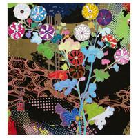 艺术品:村上隆 光琳 古典抽象版画 日本直邮 手工装裱 亲笔签名 72*76cm