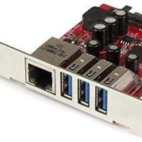 StarTech.com 3端口USB 3.0/ 1端口GbE以太网GbE扩展PCI Express接口卡 PEXUSB3S3GE