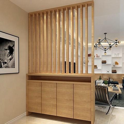 北欧简约胡桃木色门厅柜玄关柜鞋柜组合定做隔断柜镂空屏风鞋柜