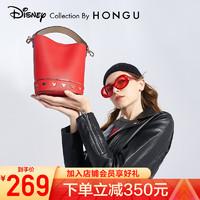 红谷迪士尼米奇联名款门店同款包包女包新款女包手提包时尚百搭水桶包 大红