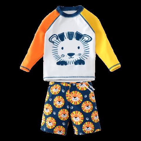 YUKE 羽克 儿童泳衣男童分体长袖防晒泳裤套装中大童宝宝可爱卡通游泳衣