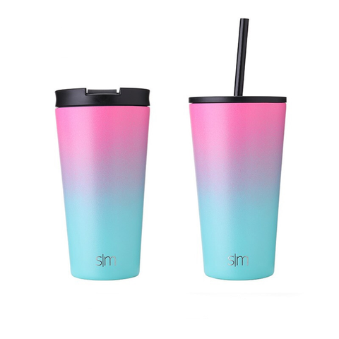 京东PLUS会员:simple modern 保温咖啡杯 粉绿渐变 480ml