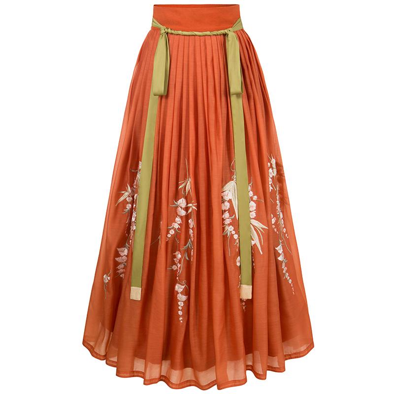 十三余 明制汉服 柿柿如意 女士一片式褶裙 SHF111898