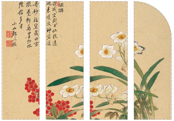 中式古典花卉国画水墨画《天竺水仙花图》邹一桂壁画 42×47cm