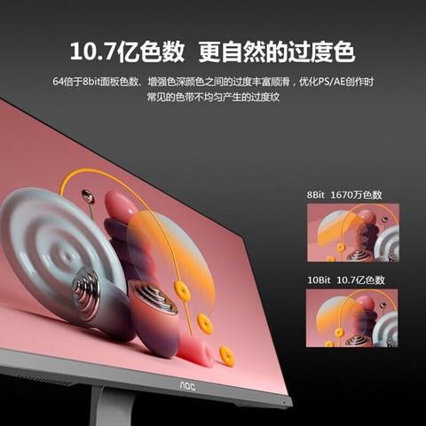 AOC显示器27英寸IPS 4K超高清超薄窄边护眼台式液晶电脑屏幕2K 24