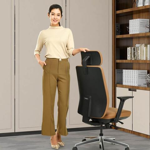 Okamura(奥卡姆拉)Elegant人体工学电脑椅子办公椅老板椅皮转椅总裁椅主高管大班椅 PWO3棕色(纳帕牛皮)