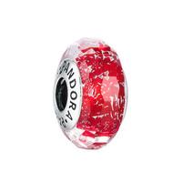 PANDORA潘多拉 925銀串飾 紅色閃爍琉璃切割面串飾-791654琺瑯串飾掛件DIY