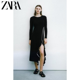 ZARA  01198032800 女士荷叶边中长连衣裙