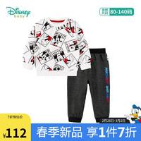 迪士尼(Disney)童装 男童套装米奇满印套头卫衣儿童宝宝休闲长裤纯棉上衣2件套