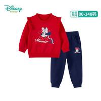 迪士尼(Disney)童装 女童套装宝宝卫衣裤子春秋新款儿童米妮印花两件套潮