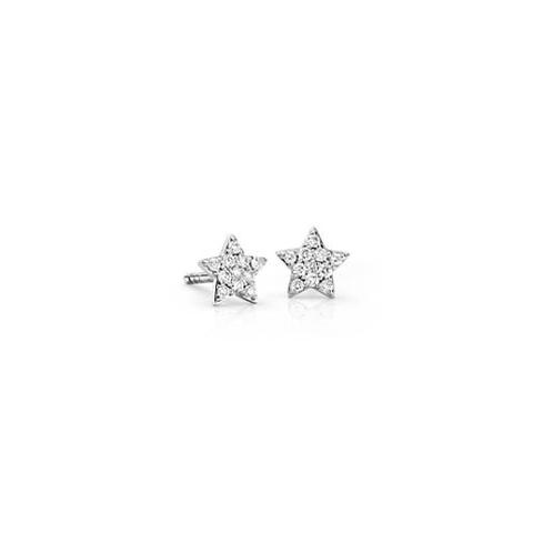 14k 白金迷你星形钻石耳环(1/10 克拉总重量) | Blue Nile