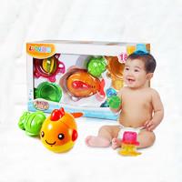 澳贝海洋动物沐浴套装 婴幼儿童戏水洗澡沐浴沙滩玩具 叠叠杯 18M+