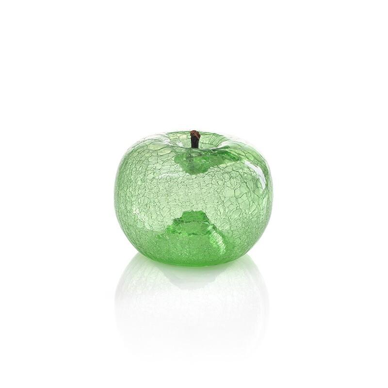 Bull & stein水果雕塑 艺术摆件 苹果 裂纹玻璃 绿宝石色120×100mm *3件