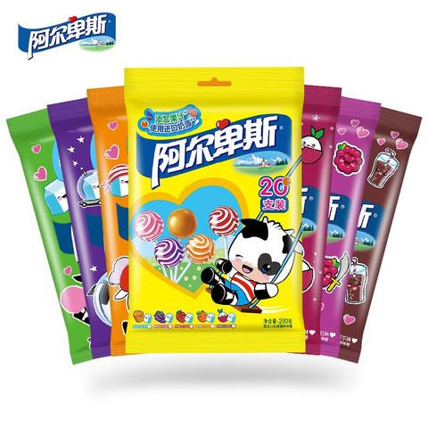 阿尔卑斯双享棒网红棒棒糖多口味多规格牛奶硬糖棒棒糖好吃的儿童零食糖果 (香橙牛奶味)200g *3件