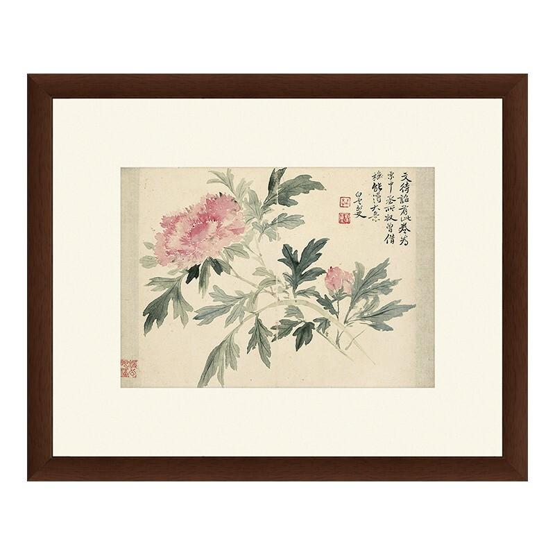花卉水墨画《牡丹图》恽寿平 背景墙装饰画挂画 茶褐色 59×48cm